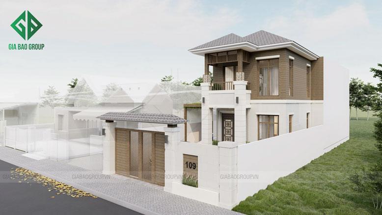 Kiến trúc tổng thể hài hòa và cân đối của mẫu nhà phố 2 tầng