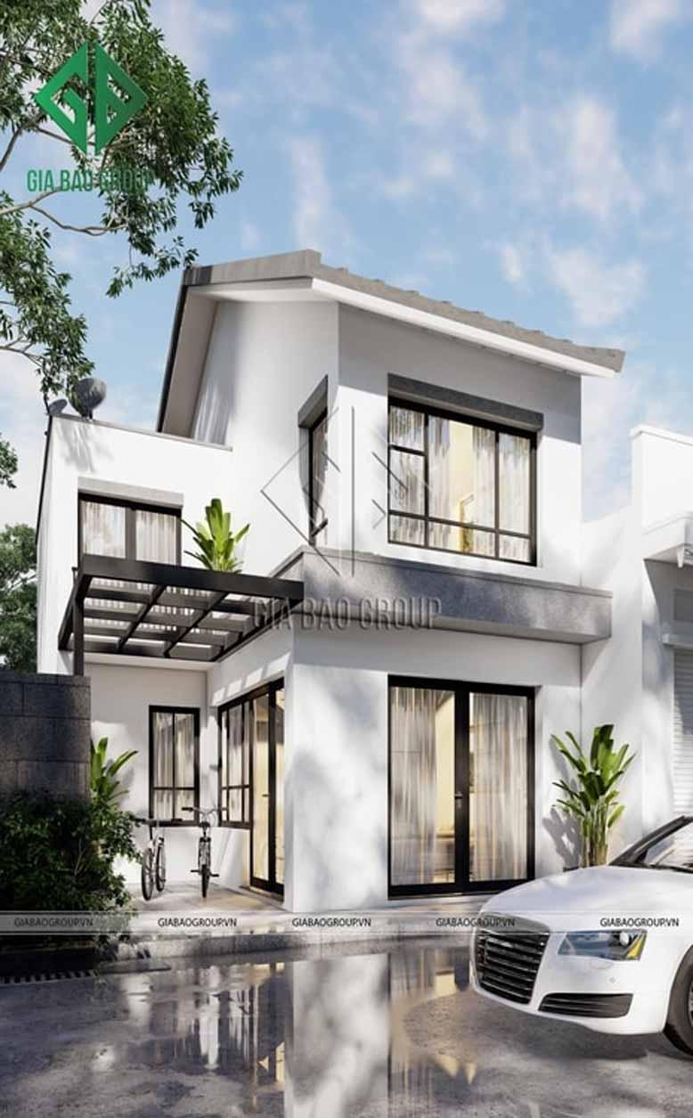 Mẫu nhà 2 tầng hiện đại mái dốc với kiến trúc độc đáo
