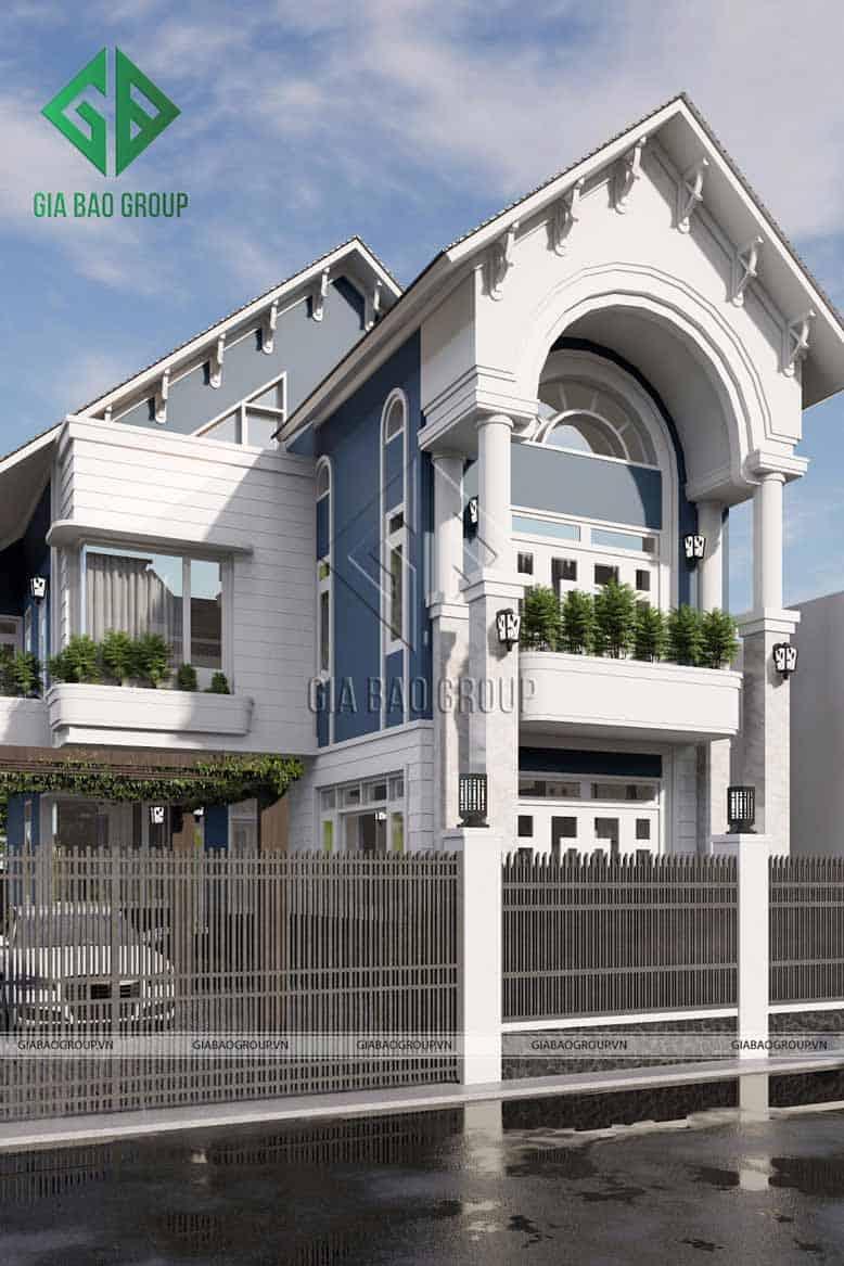Màu trắng tinh khôi và sắc xanh tươi tắn của nhà mái Thái 2 tầng