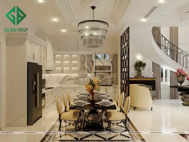 Nội thất tân cổ điển với thiết kế phòng bếp cao cấp