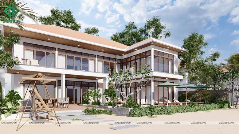 Thiết kế biệt thự 2 tầng hiện đại với chất liệu gỗ sang trọng