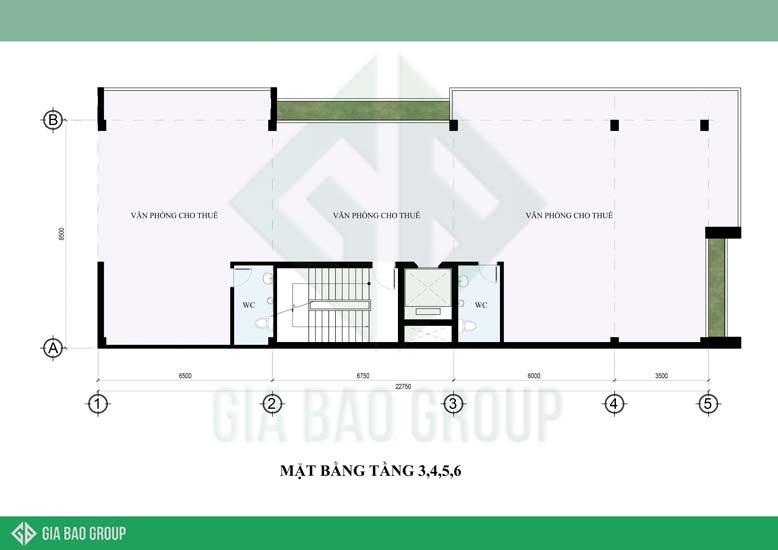 Mặt bằng tầng 3, 4, 5, 6 của mẫu thiết kế nhà đẹp Đà Nẵng