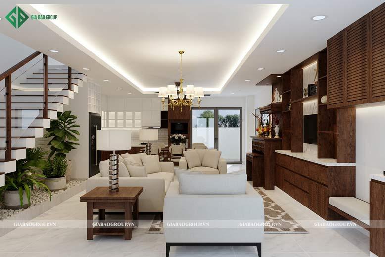 Thiết kế nhà liền kề có phòng khách sang trọng