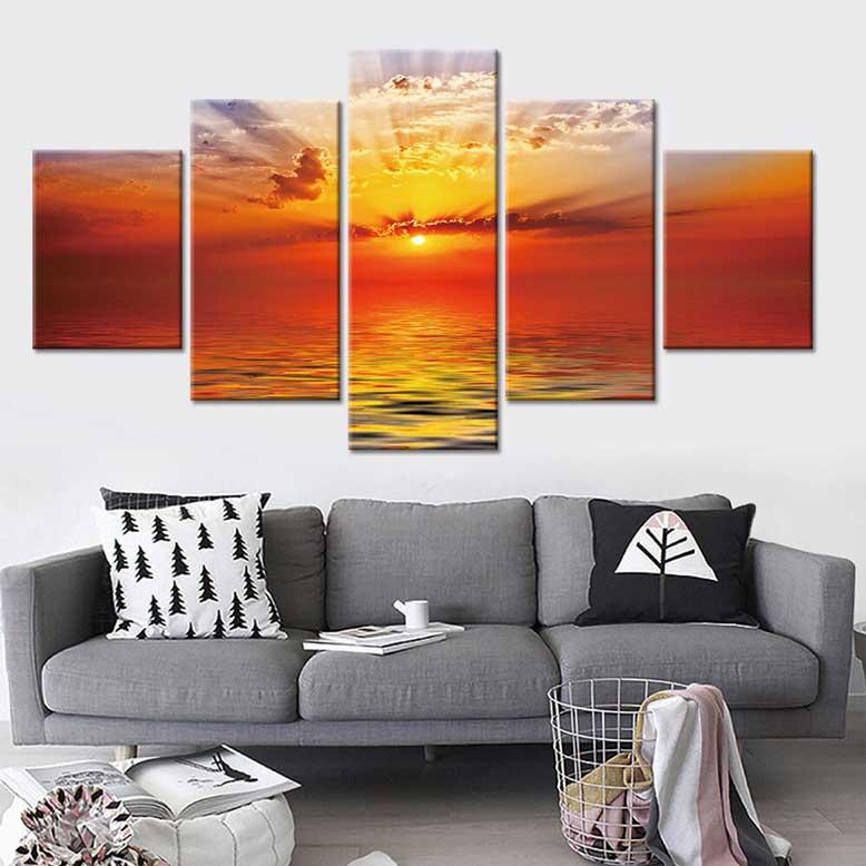 Lựa chọn tranh phong cảnh đẹp làm nổi bật phòng khách