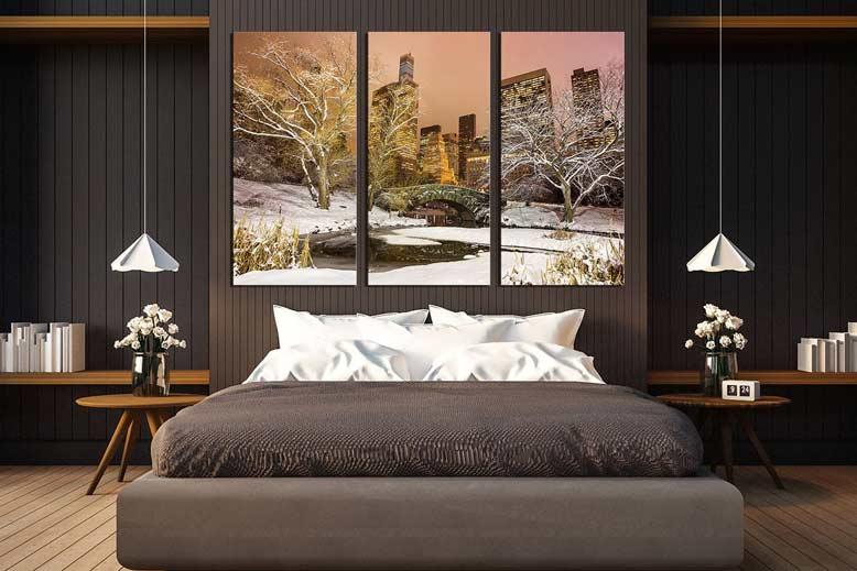 Phòng ngủ có trang trí tranh phong cảnh đẹp làm không gian trở nên nổi bật