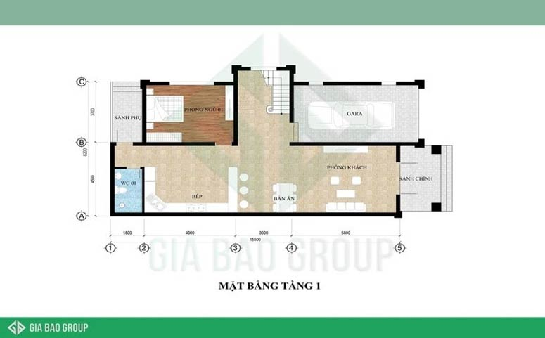 Mặt bằng công năng tầng 1 của biệt thự 3 tầng tân cổ điển