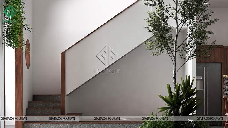 Thiết kế cầu thang trong mẫu nhà phố hiện đại 3 tầng