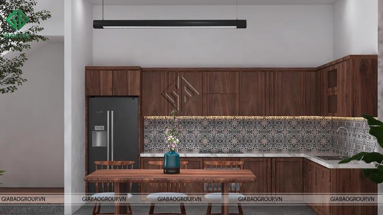 Không gian phòng bếp ngôi nhà phố hiện đại 3 tầng đầy đủ tiện nghi