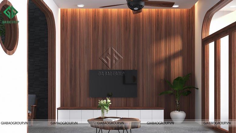 Không gian nhà phố hiện đại 3 tầng chất liệu gỗ sang chảnh