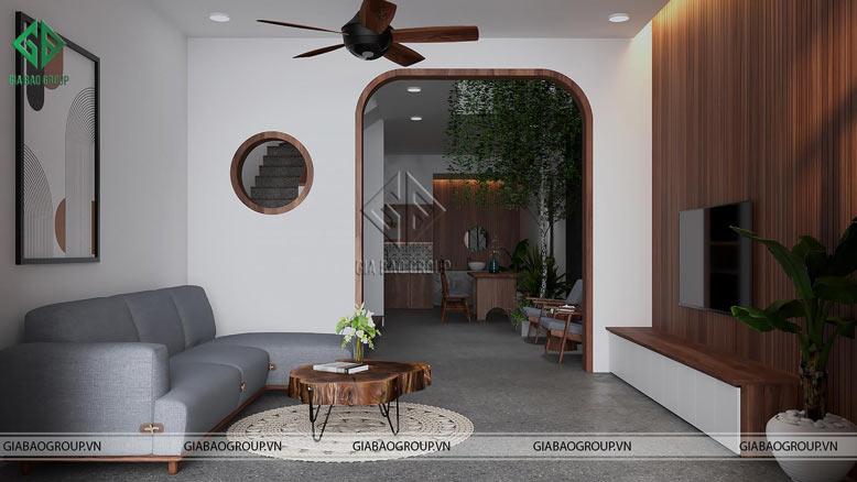 Không gian mở giữa phòng khách và phòng trà của nhà phố hiện đại 3 tầng