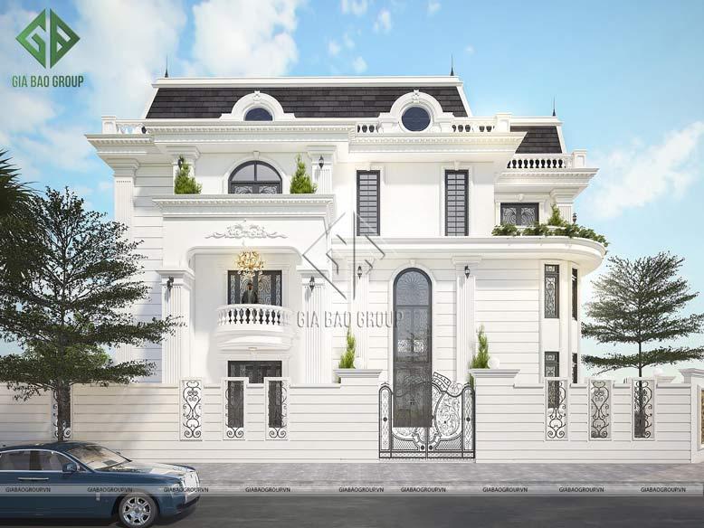 Thiết kế biệt thự tân cổ điển 3 tầng, mái ngói Marsand sang trọng