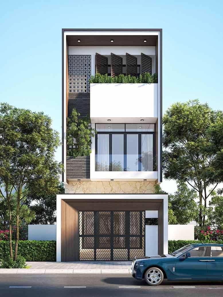 Thiết kế nhà phố hiện đại mái bằng