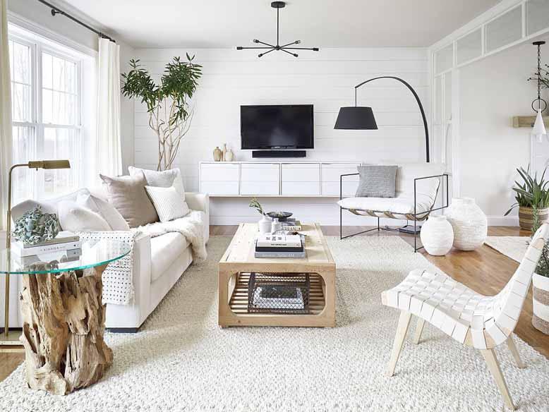 Gợi ý thiết kế phòng khách đẹp với tông màu trắng