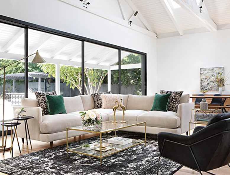 Thiết kế phòng khách đẹp với thảm trải sàn bắt mắt