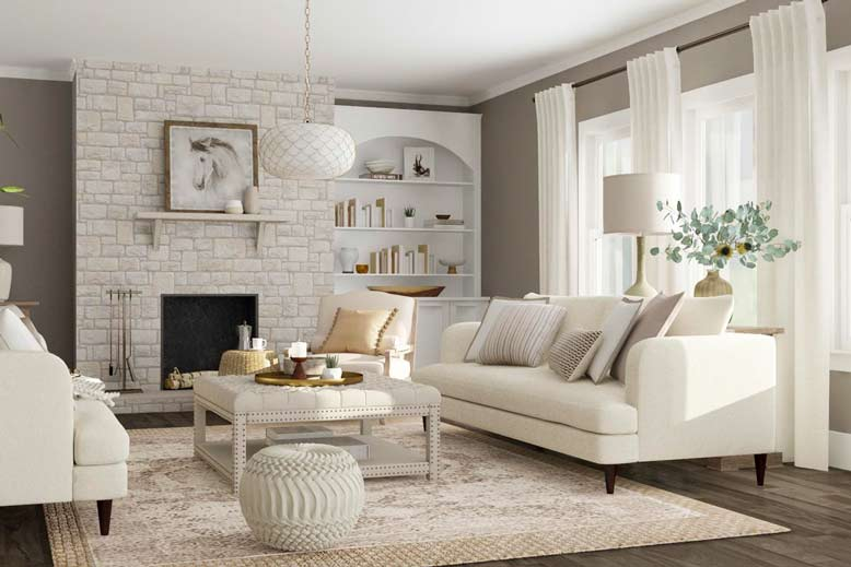 Mẫu phòng khách đẹp với thiết kế trang nhã và nhẹ nhàng