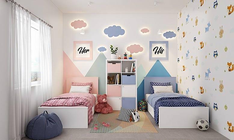 Thiết kế phòng ngủ cho bé gái với 2 giường riêng biệt