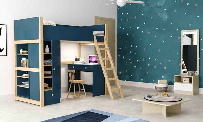 Mẫu thiết kế nội thất phòng ngủ màu xanh đẹp mắt