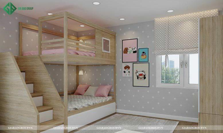 Mẫu nội thất phòng ngủ cho bé gái hai tầng