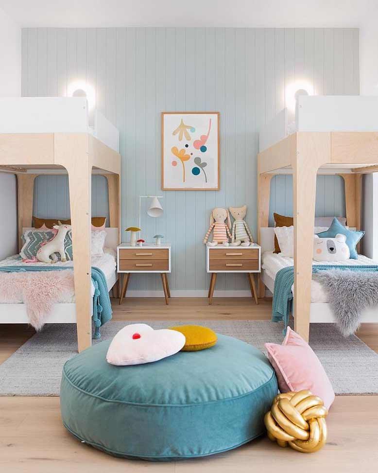 Mẫu thiết kế phòng ngủ phối màu tươi mát
