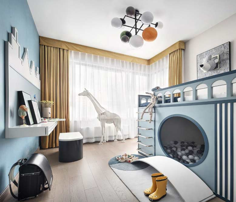 Thiết kế phòng ngủ gam màu hiện đại kết hợp khu vui chơi nhỏ