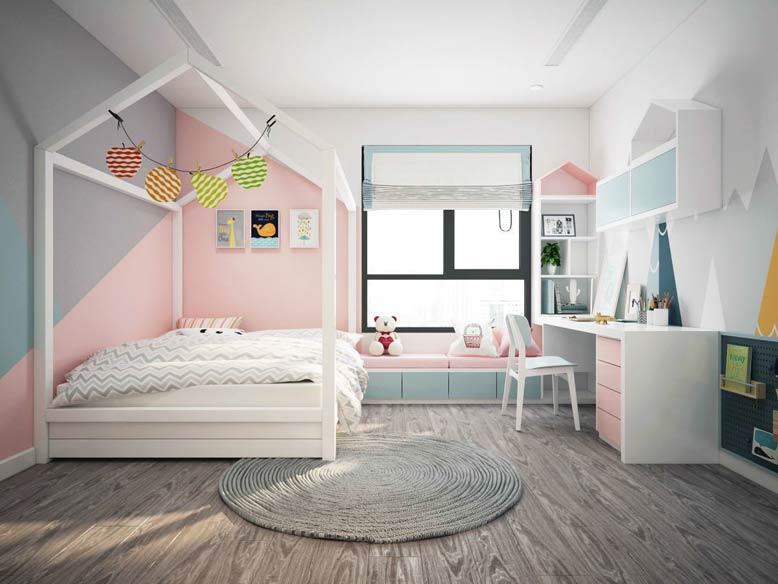Mẫu bàn đưa vào thiết kế phòng ngủ cho bé gái