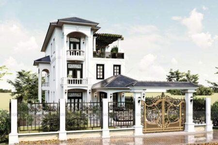 Thiết kế biệt thự 3 tầng mái dốc có sân vườn rộng thoáng tại TP Long Khánh