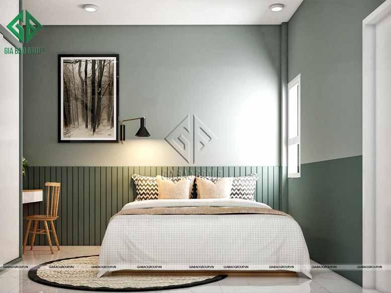 Thiết kế phòng ngủ hiện đại với gam màu xanh lục trung tính