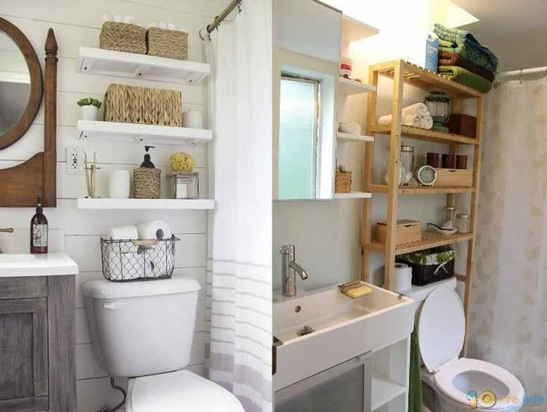 Nội thất thông minh với phòng tắm thiết kế thêm tủ gỗ