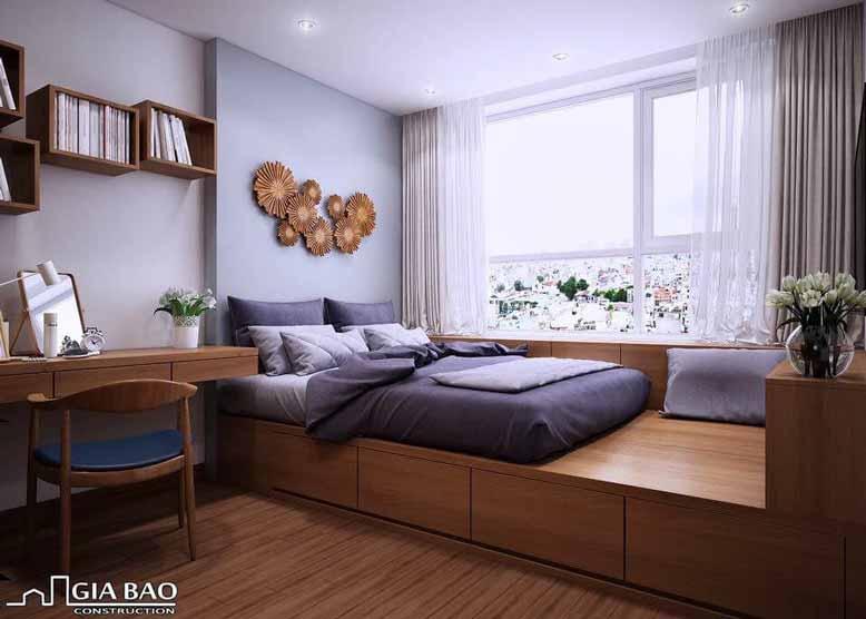 Tủ gỗ thay thế cho gầm giường là lựa chọn nội thất thông minh cho căn hộ