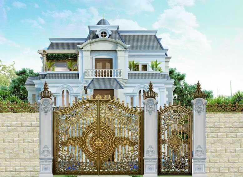 Cổng nhà đẹp chất liệu nhôm đúc chắc chắn
