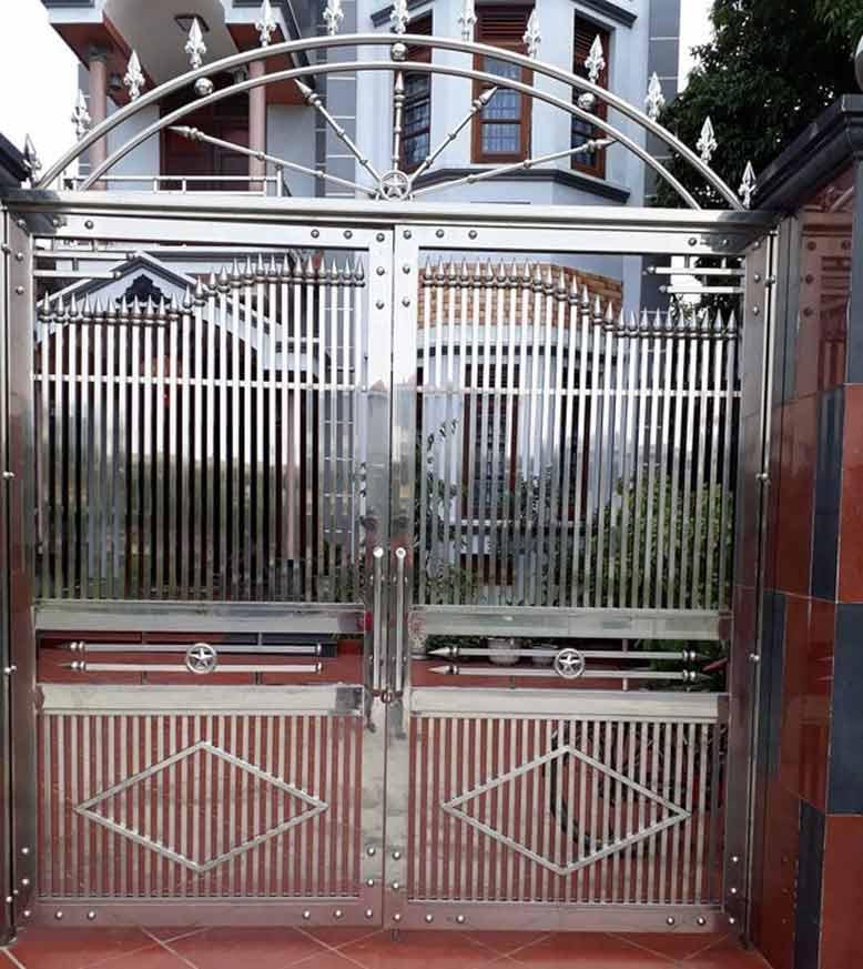 Cổng nhà inox 2 cánh đẹp