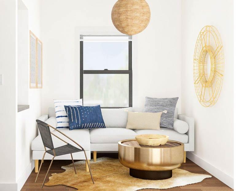 Điểm nhấn cho không gian phòng khách nhỏ là sự bày trí nội thất hài hòa