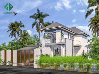 Mẫu thiết kế biệt thự đẹp phong cách hiện đại và mái ngói kiểu Nhật ấn tượng