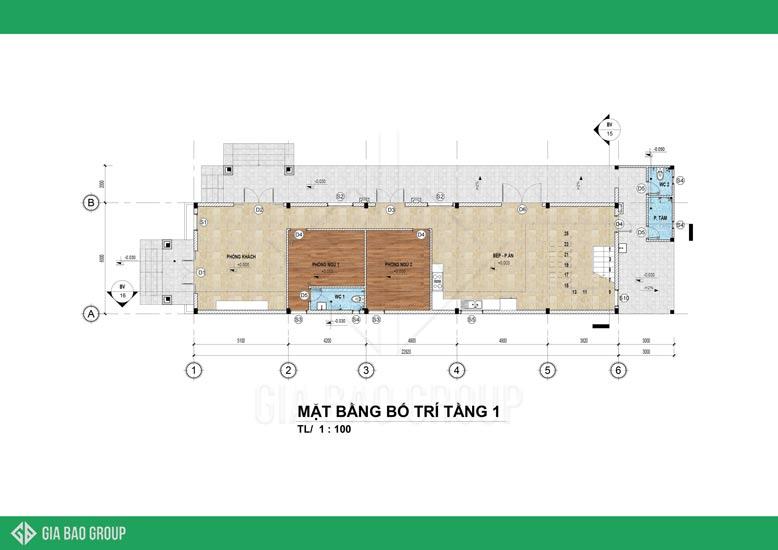 Mặt bằng tầng 1 mẫu nhà biệt thự mái thái