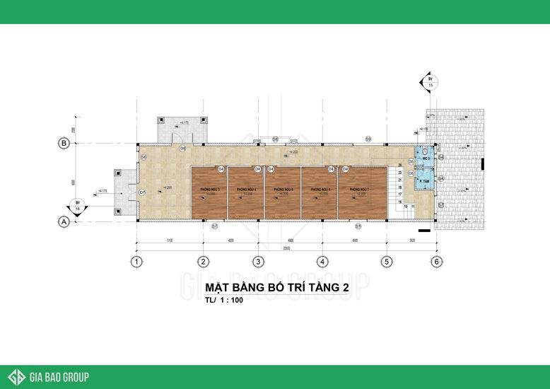 Mặt bằng tầng 2 của mẫu nhà mái Thái 2 tầng hiện đại