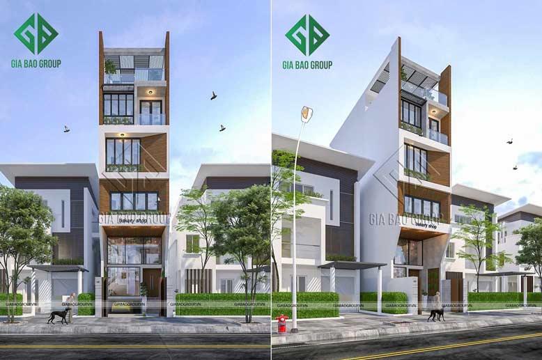 Không gian ngoại thất sang trọng của mẫu nhà phố kết hợp kinh doanh