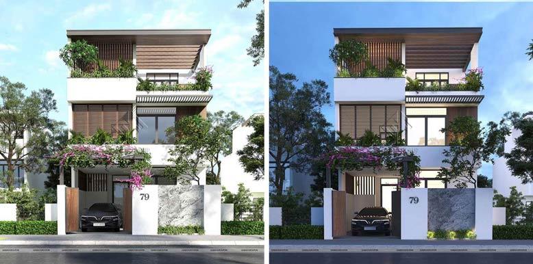 Mẫu nhà phố mặt tiền 8,5m phong cách hiện đại, đẹp hút mắt