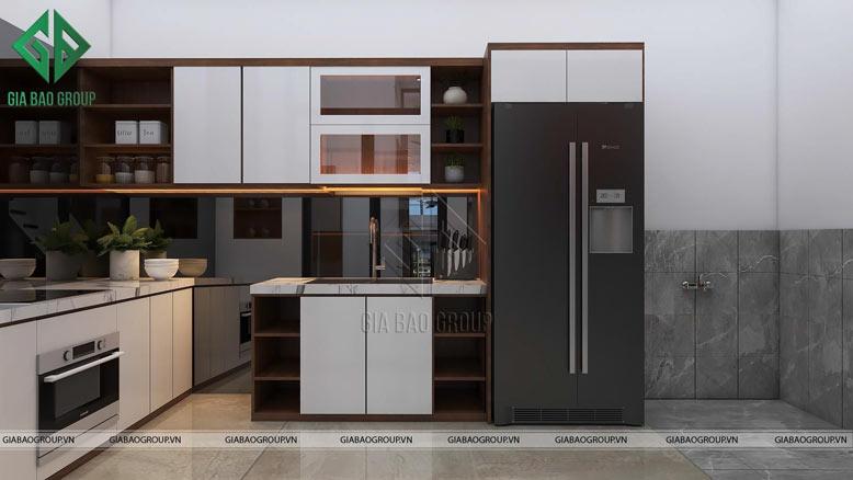 Không gian bếp tích hợp đồ nội thất thông minh