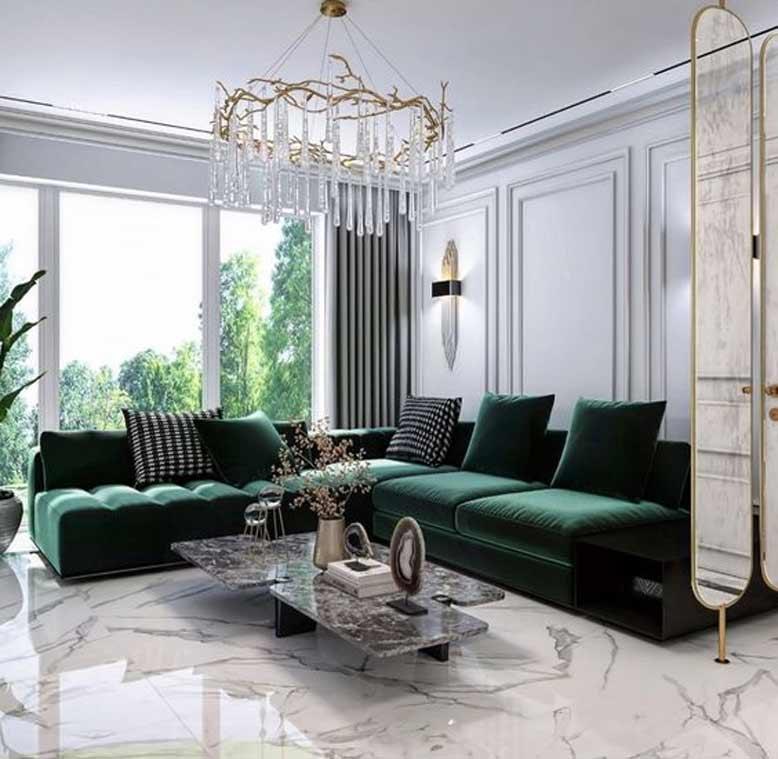 Phòng khách tân cổ điển ấn tượng với màu xanh cổ vịt