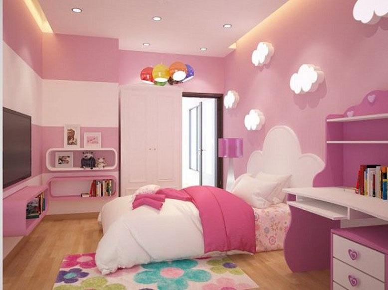 Thiết kế phòng ngủ bé gái với đầy đủ công năng