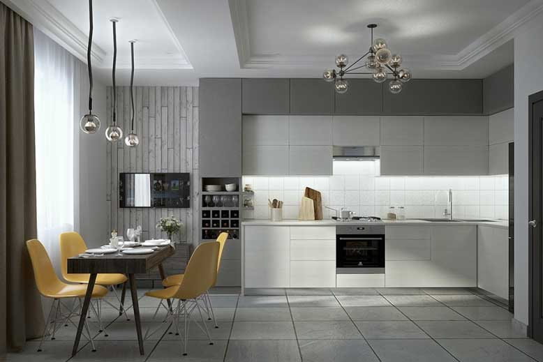 Thiết kế phòng bếp với phong cách hiện đại, đơn giản