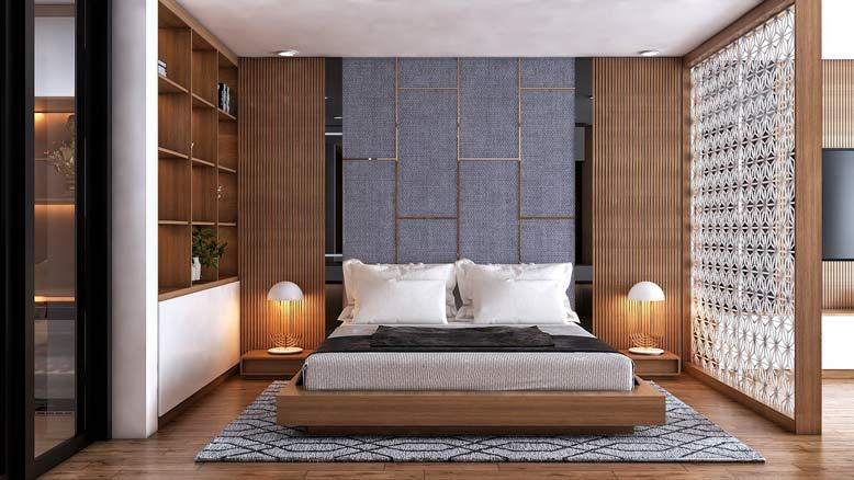 Phòng ngủ với nội thất hiện đại sang trọng, ấm áp và dễ chịu