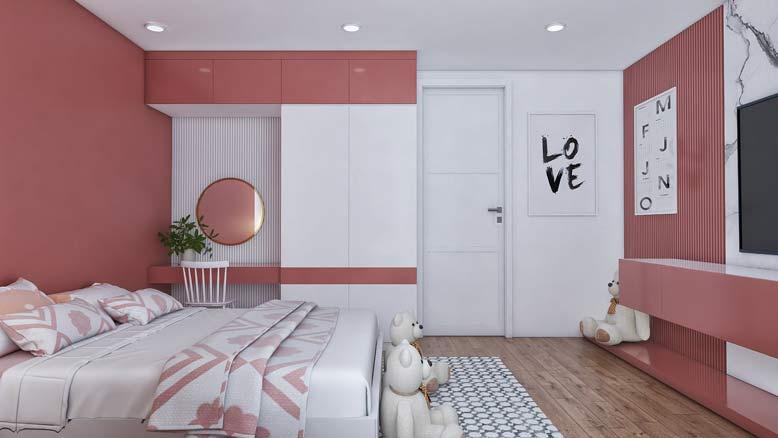 Phòng ngủ con gái ngọt ngào và tươi tắn