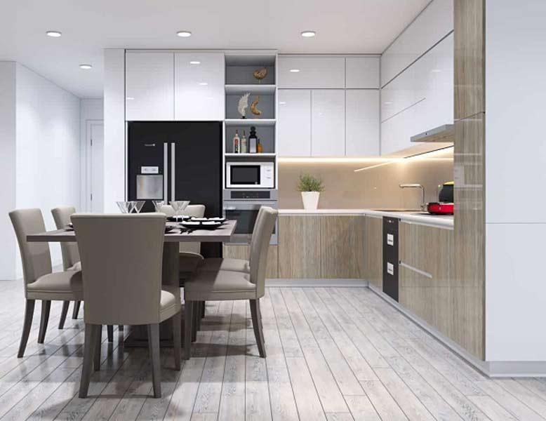 Thiết kế nội thất nhà bếp theo phong cách đơn giản