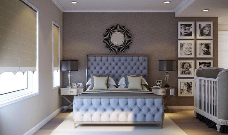 Phòng ngủ master dễ chịu, ấm áp, với nội thất đẳng cấp, sang trọng