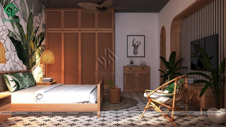Gam màu vàng ấm áp được thêm thắt một cách khéo léo cho căn phòng ngủ đẹp rực rỡ