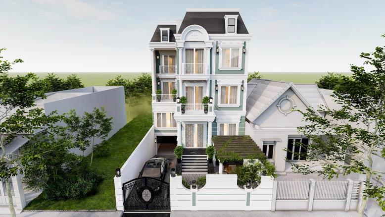 Thiết kế nhà phố có tầng hầm để xe theo phong cách tân cổ điển