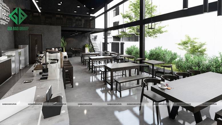 Thiết kế nội thất quán cafe đẹp cho bàn ghế đơn giản, sang trọng