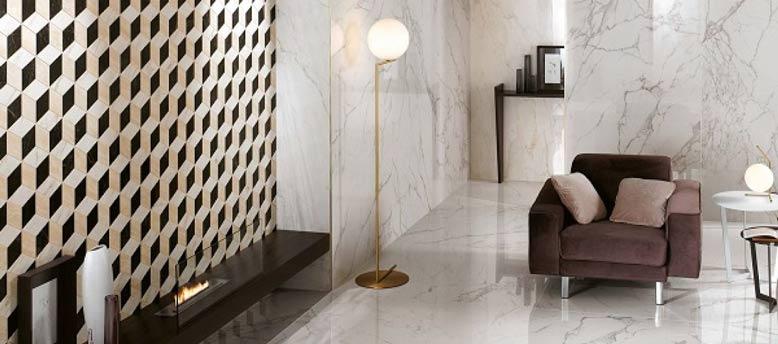 Loại gạch ốp tường phòng khách dạng đá marble cẩm thạch