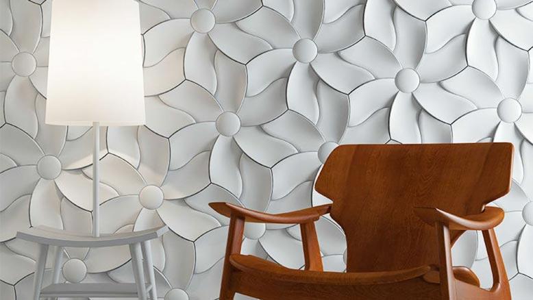Mẫu gạch ốp tường phòng khách với thiết kế 3D lạ mắt